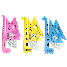 1 Set New Cute Cartoon Giraffe Animal Students' Ruler Meter Ruler Triangle Ruler