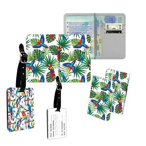 Cute Parrot With Leaf And Flower  Pattern Passport Cover Luggage Tag
