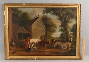 Antique 1848 JAMES WILLIAM GLASS American Farm Animals Folk Art Oil Painting
