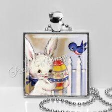 Vintage Retro Easter Rabbit Handmade Pendant Necklace Bluebird