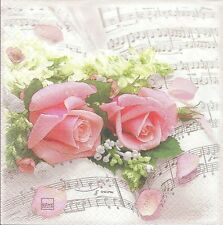 3 Serviettes papier Cocktail Roses Musique Paper Napkins Flower Symphony