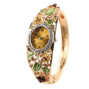 Women Bracelet Watch Quartz Analog Wrist Watches Crystal Deco Bangle Steel Band