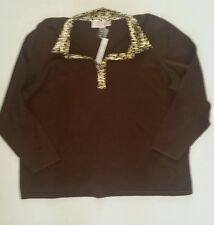 "Women's brown casu sweateral  animal print collar size 2X by ""Quacker Factory"""