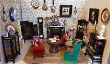 Antique Rococo Victorian Parlor Fireplace 100+pc Dollhouse Full Living Room 1:12