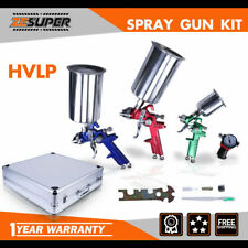 3Pcs Hvlp Air Spray Gun Kits Auto Paint Car Primer Basecoat Clearcoat w/Case
