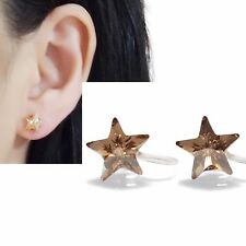 Star Swarovski Invisible Clip on Earrings Comfy Light Orange Crystal Clip-ons