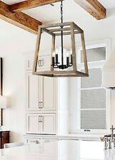 Large Modern Rustic Wooden Lantern 4 Light Fixture Ceiling Pendant Black Accent