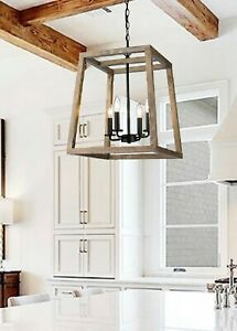 Large Modern Rustic Wooden Farmhouse Lantern 4 Light Fixture Black Accents Kitch