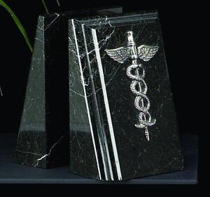 Bookends Medical Caduceus Black Marble  desk sculpture gift decor Bey-Berk