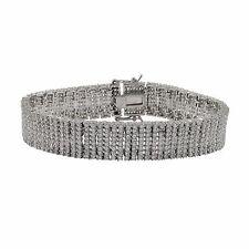 "Sterling Silver White CZs Eight Row Micro Pave Tennis Bracelet 7"""