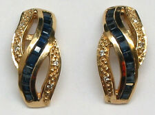14KSolid Yellow Gold Genuine Sapphire=1.20ct. and Diamond Earrings