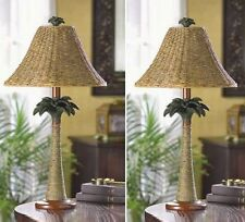 "2 LAMPS Real Rattan Rope Table Lamp Set - 25"" Tall"