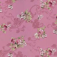 SOFT COTTON 100% DUVET BEDDING CLOTHWORKS FABRIC ELEGANT ROSE FLORAL PINK 44'W