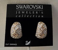 Signed Swan Swarovski Pave Square Crystal Clip Earrings
