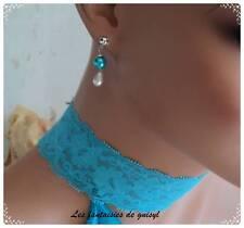 Boucles d'oreilles goutte/perles turquoises,mariage