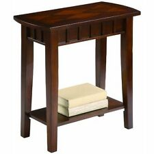 Small Wood Side Table Easy Assembly Entryway Decorative Moulding Storage Shelf