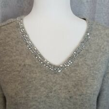 JONES NEW YORK Women's 100% CASHMERE Sequin V-neck Xtra Large Gray Sweater Sz XL