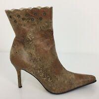 Celia Rubio Brown Leather Ankle Zip Up Heel Boots Women Size UK 7 Eur 40
