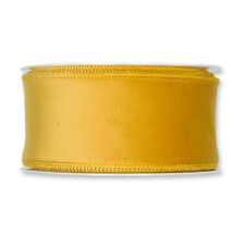 Christmas Velvet Fabric Ribbon 50mm x 8m Mustard Yellow
