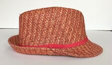 Augus T fedora / beach hat RED / ORANGE thin coral fabric band 100% paper size L
