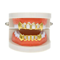 18K Gold Plated Mouth Teeth Caps Hollow Gold Halloween Hip Hop Grills Set