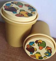 Rubbermaid Vintage Canister Retro Mushrooms  Storage Plastic Rare Yellow Lot 2