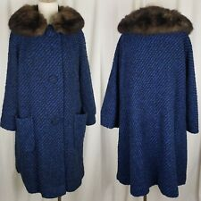 Vintage 50s Cobalt Blue Boucle Tweed Wool Fur Collar MCM Peacoat Coat Womens L