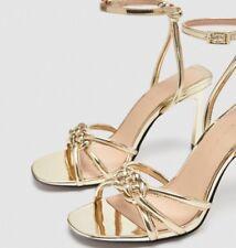 Zara Gold Metallic High Heels Nwts Size 8