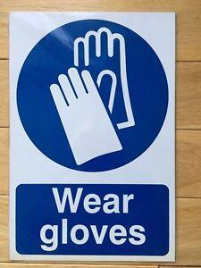"Spectrum Self Adhesive Signs 0003 ""Wear Gloves"" - Vinyl 200 x 300 mm new sealed"