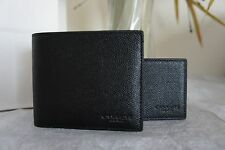NWT COACH F59112 Men's Compact ID Cross Grain Leather Wallet Black  $175