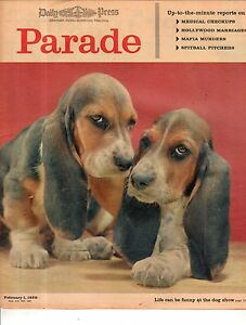 1959 Parade February 1 - Complete magazine - Basset Hounds at the Dog show