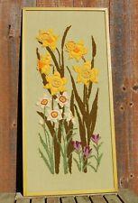 Vintage Crewel Art Framed Wall Hanging Picture Floral Daffodil Crocus Flowers
