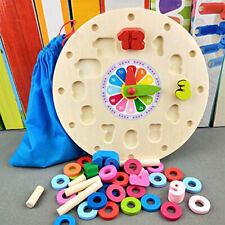 Kids Learning Wooden Math Digital Clock Count Geometric Shape Matching Toy Z