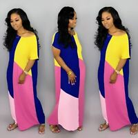 New Women's Casual Short Sleeves Color Block Loose Summer Maxi Dress Club Party