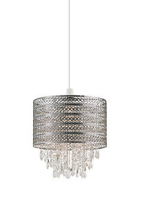 Endon Harewood pendant shade only 60W Chrome effect plate & clear glass drops