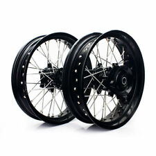 "New Supermoto Wheels Set For Suzuki DR650 DR 650 L 17""  Cush Drive 96/2016 black"
