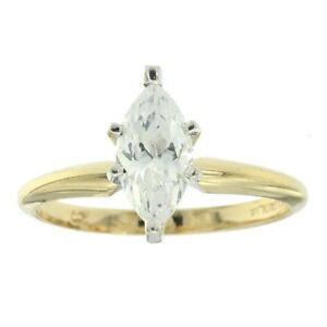 1.00ct 10x5mm Marquise Cut Cubic Zirconia Engagement Ring Solid 14k Yellow Gold
