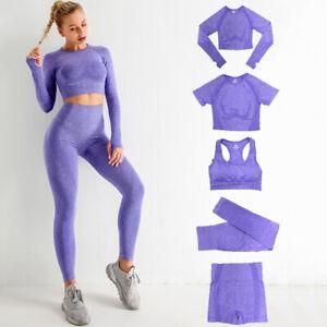 5pcs Seamless Yoga Set Workout Sport Gym S/L Sleeve Crop Top High Waist Leggings