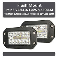 Pair 6Inch Flush Mount LED Work Light Pods Spot Flood Beam Driving Lamp 12V 24V