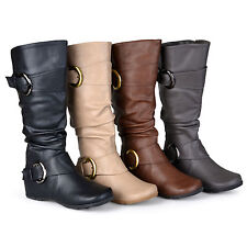 Journee Collection Womens Regular Sized Slouch Buckle Knee High Riding Boot New