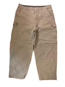 REI Co-op Tan Brown Convertible Leg Size 36 X 30 Nylon Cotton Hiking Pants