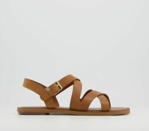 Womens Toms Sicily Sandals Tan Leather Sandals