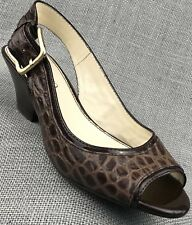 Womens Shoes Franco Sarto Brown Leather Sling Back Heels Size 6 M
