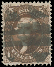 1862 5c RED BROWN USED #75 dark red brown shade bold bar cancel well-centered an