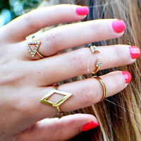 Five Suit Ring Mid Midi Above Knuckle Ring Band Gold Silver Tip Finger Stacking