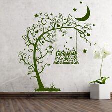 Wandtattoo 2 Eulen Schaukel Herzen am Baum Ast Owl Uhu 491