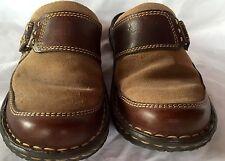 Women's BORN Brown LEATHER SUEDE CLOGS FLATS Sandals Velcro shoes sz 6