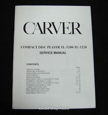 Original Carver TL-3300 CD Player Service Manual