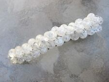 Barrette for Thick Hair Crackle Glass French Clip Hair Barrette White Ice lb007