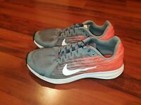 Nike Downshifter 8 GS Breathable Mesh Boys Running Shoes Grey Crimson Size 5Y